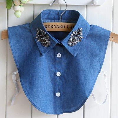 假領子襯衫領片-牛仔藍色釘珠花卉女裝配件73vk17[獨家進口][米蘭精品]