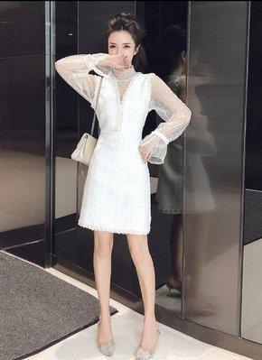 套裝 小香風 女裝兩件套裝秋裝2019新款小香風氣質百搭背心連衣裙+網紗打底衫