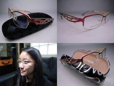 信義計劃眼鏡 Bonkers 日本玫瑰金色水鑽鏤空金屬橢圓框半框下無框 BO JF 超越 Z Rey
