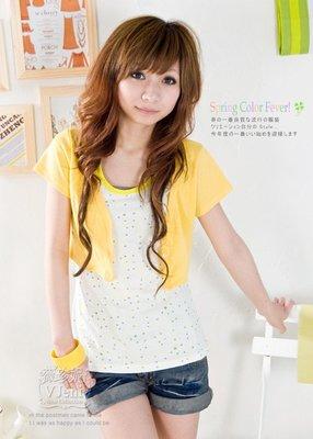 薇珍妮LOVE秋甜美百搭款˙大V領排扣可綁結短版黃色罩衫小外套 短袖小外套薄外套 棉質外套
