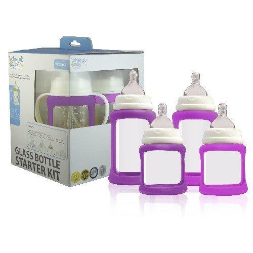 ♫♥Yo媽‧嚴選♥♫ 澳洲CherubBaby 防摔寬口玻璃奶瓶禮盒組(四入)