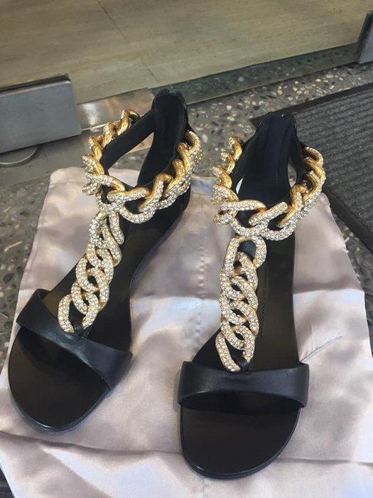 典精品名店 Giuseppe-Zanotti-Design 真品 水鑽金屬鍊帶 羅馬 平底鞋 尺寸 39 現貨