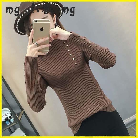 毛衣 半高領毛衣套頭韓版修身長袖打底衫緊身針織衫