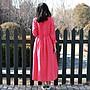 【鈷藍家】棉麻臆想 春季新款西瓜紅砂洗亞麻袍子圓領大口袋長款大擺連身裙