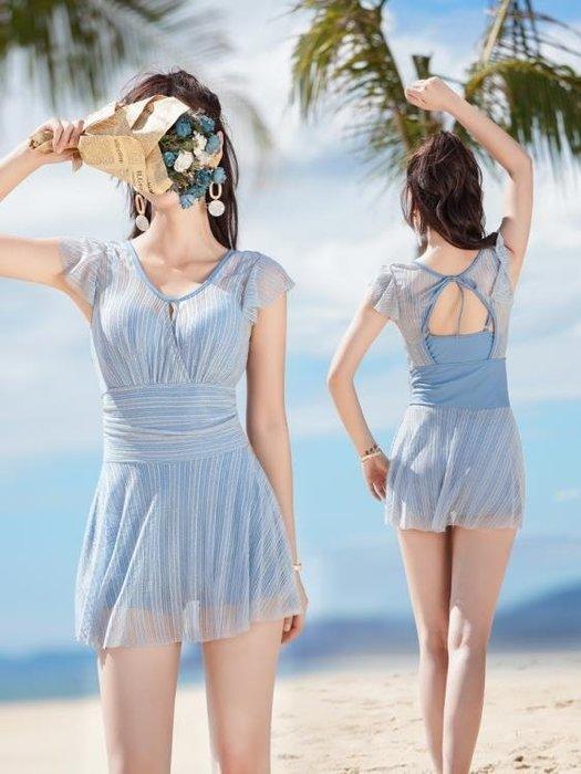 泳衣女連體2018新款超仙溫泉游泳衣性感裙式遮肚顯瘦大碼溫泉泳裝