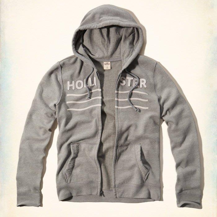 Maple麋鹿小舖 Hollister Co * HCO 灰色貼布字母連帽外套*( 現貨XL號 )