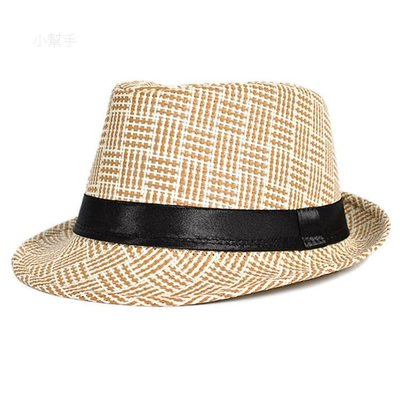 歐美男士禮帽遮陽防曬草編爵士帽春夏遮陽帽太陽帽/優品小舖/
