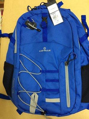 @淡水無國界@美國 AIRWALK幾何線條 雙層護脊輕量筆電後背包(寶藍) 23L大容量真好用 運動 學院 商務 機能型