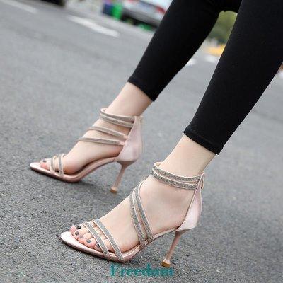 Freedom女鞋歐美涼鞋女2019新款時尚性感S型細跟水鉆中空法式少女高跟鞋夜場