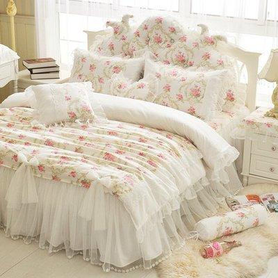 粉紅玫瑰精品屋~田園風公主全棉四件套床上用品韓版蕾絲床裙~雙人特大