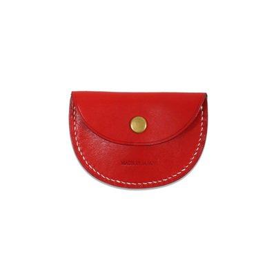 Freaky House-日本Mastery Co義大利皮革零錢包銅扣手工製日本製紅色