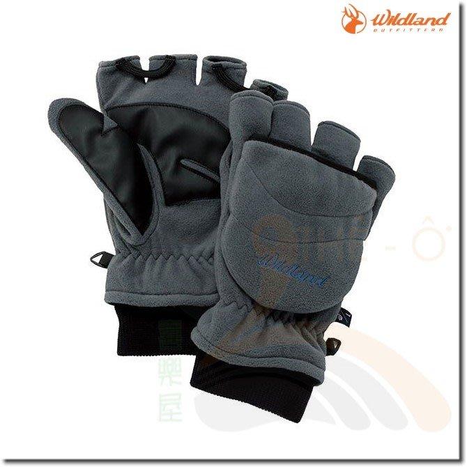 荒野 WILDLAND W2012-92中灰 中性防風保暖翻蓋手套 保暖手套 防風/刷毛/保暖 喜樂屋戶外