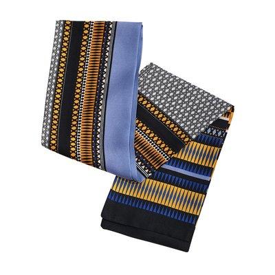 Lingo Codes藍黑拼色時尚名族風長款絲巾小叮噹影迷