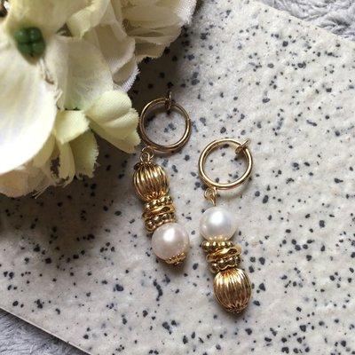 古典珍珠耳環淡水珍珠可改夾