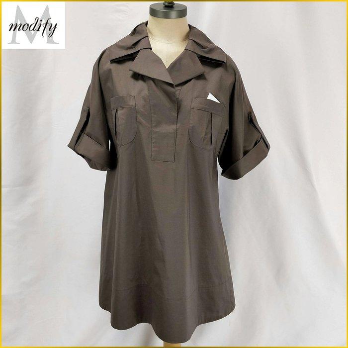 日本二手衣✈️Modify 日本製 長版 寬鬆上衣 棕色 短袖 長罩衫 特殊領 雙口袋 40号 品牌女裝 A1F07M