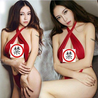 情趣内衣 歐美性感連體性感露乳 掛脖性感红色誘惑連體衣  風-5535