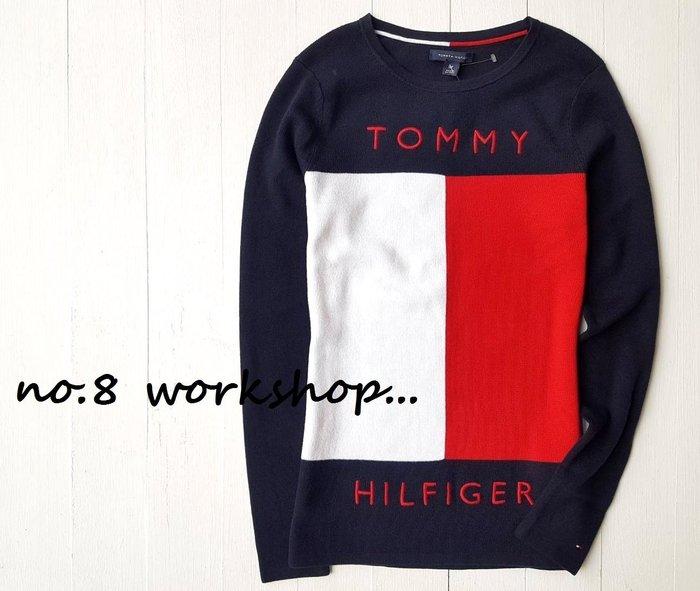 T☆【女生館】☆【TOMMY HILFIGER LOGO拼接針織衫】☆【TOMG002W3】(S-M)原價2299