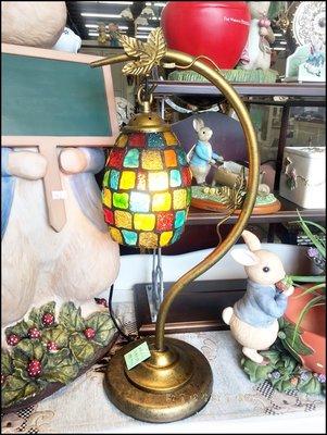 金色樹葉仿舊小夜燈床頭燈 馬賽克彩色玻璃問號燈桌燈 異國風台中造型燈藝術燈具玄關燈入門燈氣氛燈【歐舍傢居】