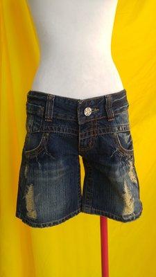 不太搭~全新(H2O)刷破低腰無彈性三分牛仔褲S號低腰31吋