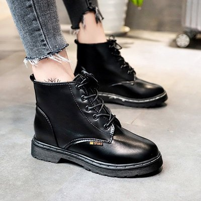 靴子短靴馬丁靴裸靴 粗跟靴 雪靴 軍靴 韓國正韓 心機馬丁靴女英倫風復古短靴 百搭裸靴粗跟系帶女靴子