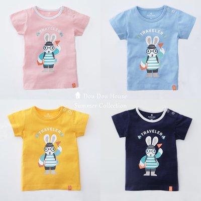 *Dou Dou House Collection*獨家設計款:小兔子旅行者- 寶寶純棉短袖T恤 上衣(現貨)