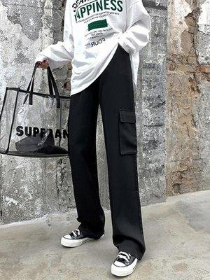 墜感工裝褲女寬鬆高腰直筒顯瘦拖地褲垂感休閒洋氣闊腿褲子  -【台北市集】-【台北市集】
