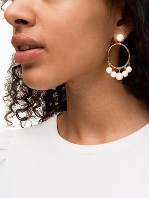 【全新正貨私家珍藏】Kate Spade Large Bauble 氣質珍珠流蘇復古金耳環/耳圈((防過敏))