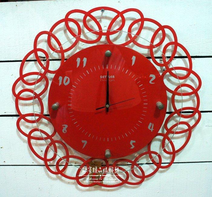 ~*歐室精品傢飾館*~ 現代 簡約 風格 鍛鐵 幾何 設計 彩色 玻璃 數字 紅色 掛鐘 時鐘 擺飾 裝飾~新款上市~