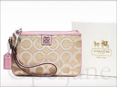 真品 Coach 47512B Wristlet 粉紅色真皮邊C織布手拿包 手腕包 精緻禮盒+150元 愛Coacj包包