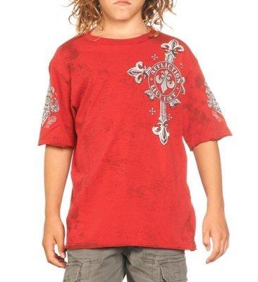 AFFLICTION 美式重機潮牌 A9183 剩小童 紅色短袖T恤 出清價不退換