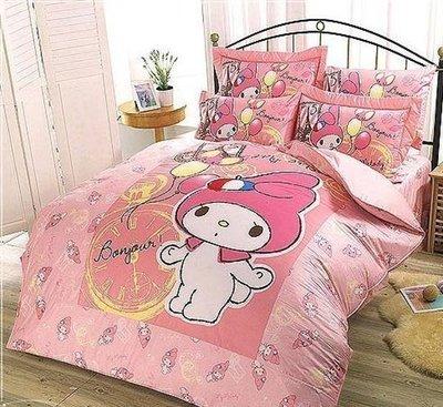 §同床共枕§  HelloKitty 100%精梳純棉  單人3.5x6.2尺 床罩兩用被套四件組-美樂蒂 粉