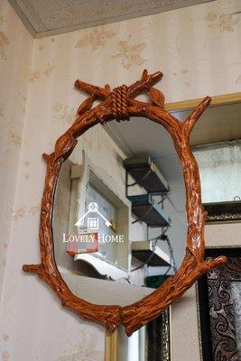(台中 可愛小舖)歐式古典鄉村風格-咖啡色立體樹葉橢圓掛鏡實品質感好壁鏡裝飾送禮店面裝飾化妝鏡臥室鏡民宿客房主臥室皆可用