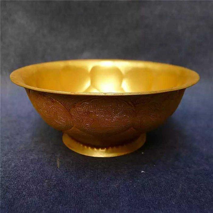 紫銅雕花鍍金碗 古玩熱賣收藏 工藝精美 做工細膩 手工制作品相佳