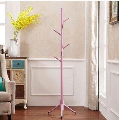 【優上】全實木衣架落地房間衣帽架掛衣架落地衣物架客廳單桿式衣服架「粉紅色」