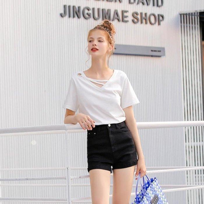 ♠MG小象純棉T恤女短袖春裝寬松純色體恤2019新款韓版V領小心機上衣♠♠時尚小鋪