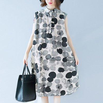 夏季新款文藝復古中長款大碼寬松印花連身裙無袖棉麻背心裙子