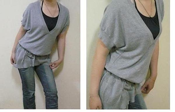 【韓】韓組大V領下擺雙口袋針織衫.....水藍色