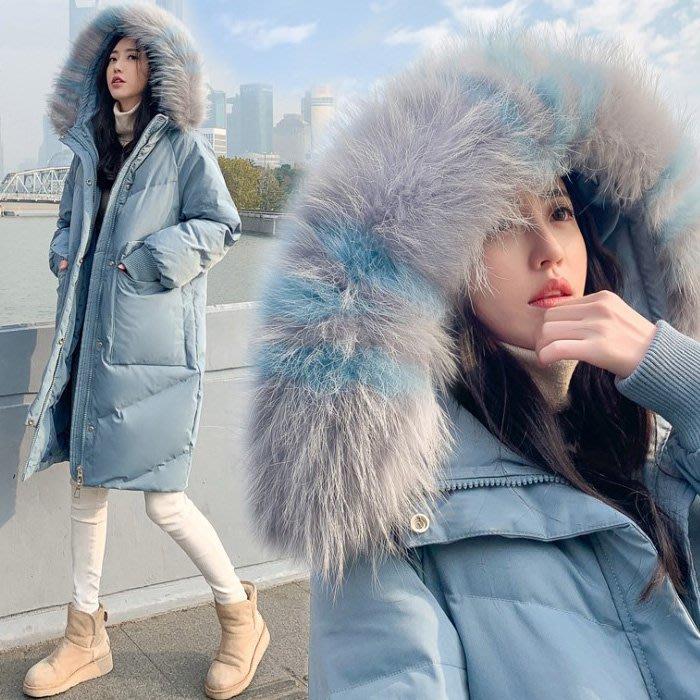 冬款輕奢華撞色大毛領加厚極緻保暖白鴨絨羽絨外套 艾爾莎【TAE8130】
