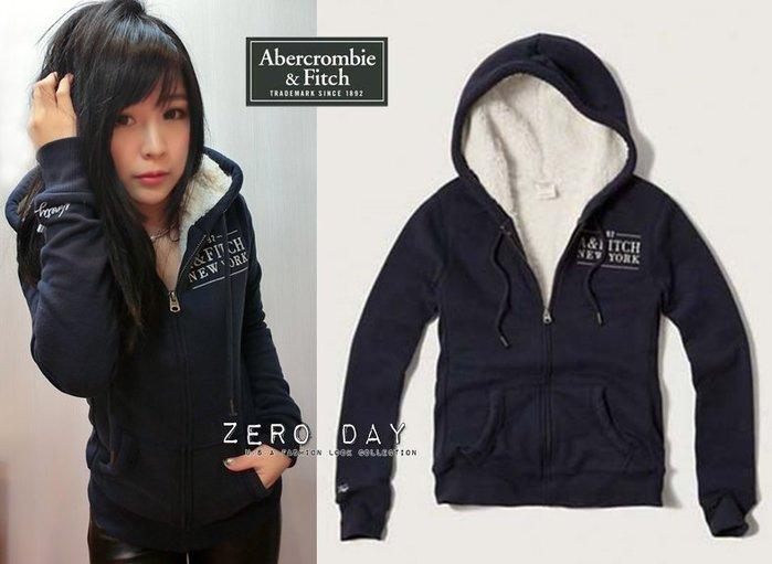【零時差】A&F Abercrombie&Fitch Sherpa Lined Logo Hoodie熊寶寶毛連帽外套藍