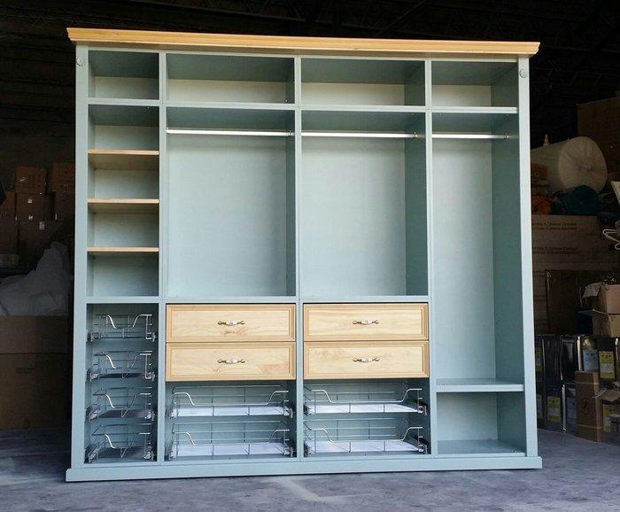 鄉村傢俱訂製 家具客製化 莫蘭迪 綠灰+木雙色 開放衣櫃 收納櫃 衣櫥 隔間櫃 系統穿衣間  衣物包包收納 [美生活館]