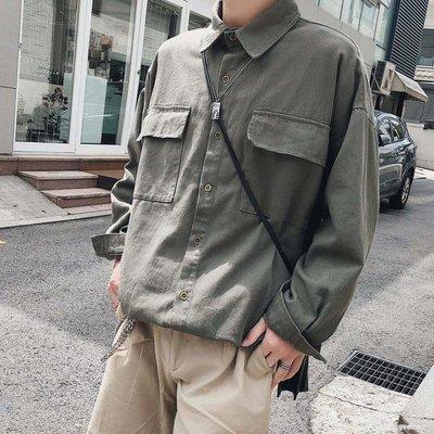 長袖襯衫 早秋男生長袖上衣寬鬆百搭休閒韓版帥氣襯衫韓風襯衣外套潮流