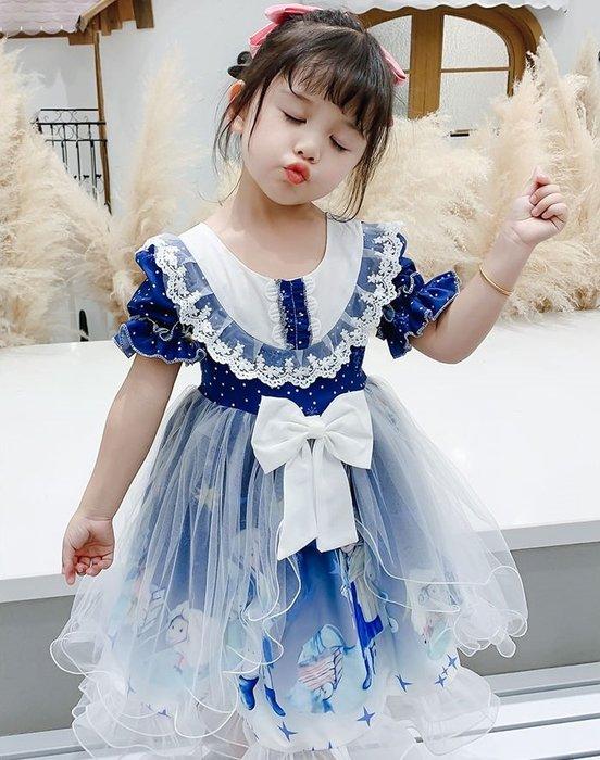 •*~ 辣媽咪衣飾小舖 ~*•❤童裝系列❤K080330韓版兒童夏款甜美夢幻夢蘿莉洛麗塔氣質公主裙洋裝