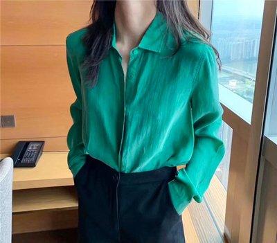 Dreamyshow韓國代購 韓國LUNATIC BLUE早秋款簡約純色翻領長袖薄款絲滑銅氨絲襯衫女潮