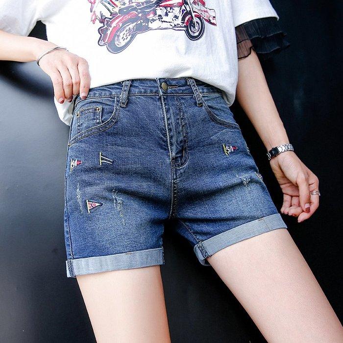 2件免運~熱銷新款~牛仔短褲女夏季新款韓版顯瘦直筒百搭高腰刺繡外穿卷邊熱褲潮