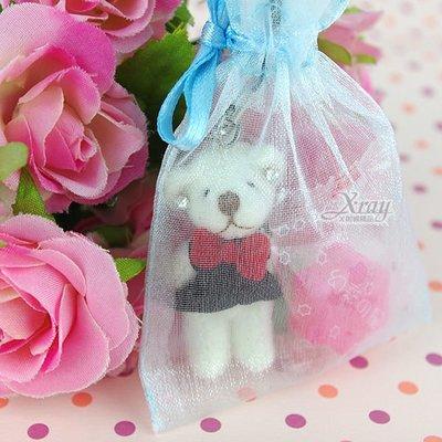 X射線節慶王【Y110050】婚禮小物組29(方型紗袋+熊+糖果),送客糖果袋/喜糖盒/紗袋/婚禮小物