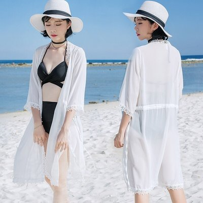 BEAUTY AMIU·溫泉新款中長款雪紡開衫防曬衣寬松薄款外套空調衫顯瘦泳衣罩衫