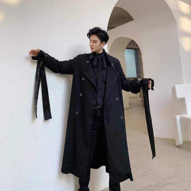 FINDSENSE 2019 秋冬上新 G19  暗黑日系氣質簡約中長款光澤感飄帶風衣黑色長大衣男裝百搭寬鬆休閒外套