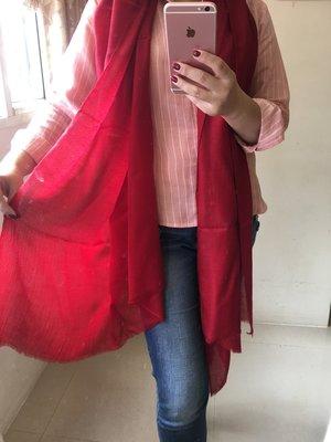 夢夢園SUPERFINE^^特級輕暖特訂款SHAMINA STOLE高級素色羊毛圍巾/披肩200x70CM* 酒紅色