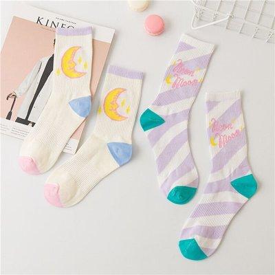襪子 襪子女韓版中筒襪學院風neon moon原宿滑板襪潮襪可愛月亮紫色襪