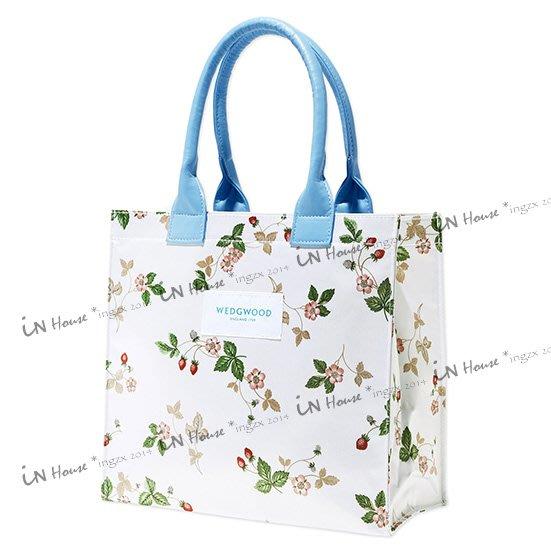 IN House* 現貨 日本人氣~英國 清爽 野莓 草莓 藍色提帶 托特包 手提袋 購物袋 (特)
